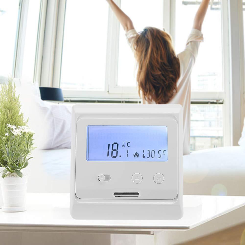 Controlador de Temperatura LCD Digital Luz de Fondo Calefacci/ón de Piso Termostato No Programable Calefacci/ón de Piso El/éctrica Blanco 220V