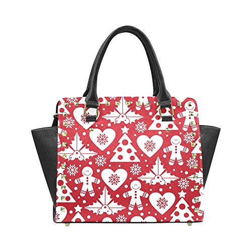 Christmas Tree Mistletoe and Holly Women's Rivet PU leather Shoulder Bag Handbag