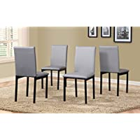 Roundhill Furniture C007GY Noyes Faux Leather Metal Frame Dining Chair, Gray