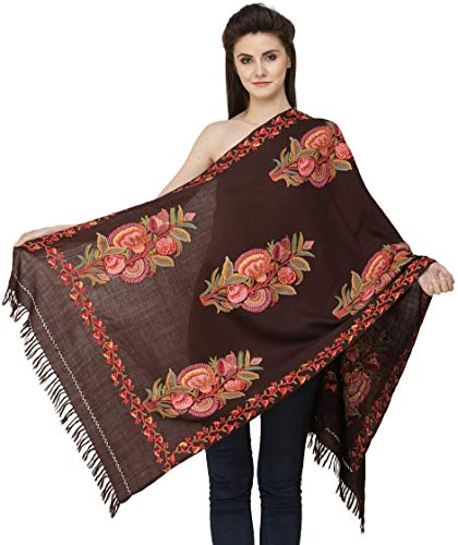 Exotic India Kashmiri Stole with Ari Hand-Embroidered Bunch of Flowers All-Over - Color Truffle