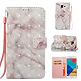 Cover Galaxy A3 2017 Marble Book Pink Beige, Misteem Colorful Fantasy Marble Pattern Soft Leather Credit Card Holder Wallet Shockproof Case Protective Shell for Samsung Galaxy A3 2017