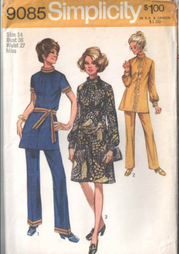 - Simplicity 9085 Sewing Pattern for Misses Dress or Tunic with Gathered Band Neckline and Pants
