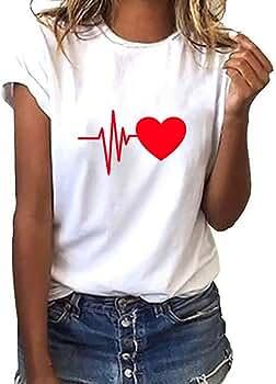 Blusas Mujer Elegantes ❤️ Modaworld Camisa Blanca Mujer Camiseta Suelta de Manga Corta con Estampado de Corazones para Mujer Blusas de señora de Vestir: Amazon.es: Ropa y accesorios