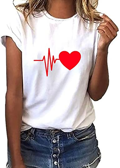 BHYDRY Camiseta con Estampado de Gatos para Mujer Blusa de Manga Corta Suelta Casual Tops sin Mangas