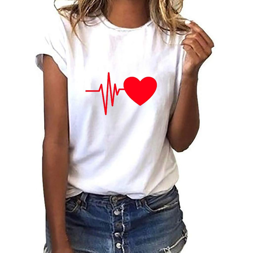 Womens Causal Short Sleeve Heart Print Loose Round Neck T-Shirt Graphic Tees by Nevera