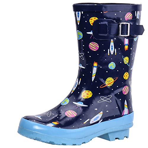 ALEADER Kids Waterproof Rubber Rain Boots for Girls, Boys & Toddlers with Fun Prints & Handles Blue/Universe 1 M US Lttile Kid