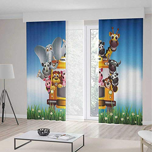ALUONI Windows Blackout Curtain TT02 Kids Room Living Room Bedroom Décor Funny Animals on a School Bus 2 Panel Set 141W x 94LInches