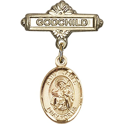 14kt Yellow Gold Baby Badge with St. James the Greater Charm and Godchild Badge Pin 1 X 5/8 inches by Bonyak Jewelry Saint Medal Collection