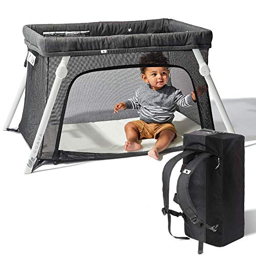Lotus Travel Crib - Backpack Portable, Lightweight, Easy to Pack Play-Yard with Comfortable Mattress - Certified Baby ()