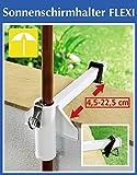 WENKO Sonnenschirmhalter FLEXI - Stahl - weiß - Schirmhalter für Balkon oder Terasse