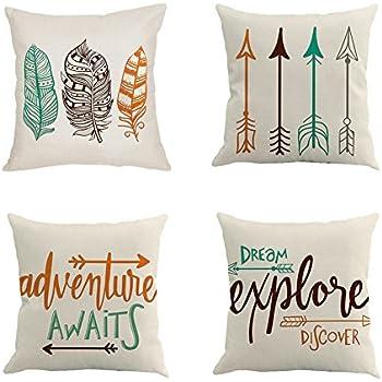 Qinqingo inspirational quote with arrow throw pillow covers decorative cotton linen cushion cover home sofa decor pillowcases set of 4 iafq 4pcs