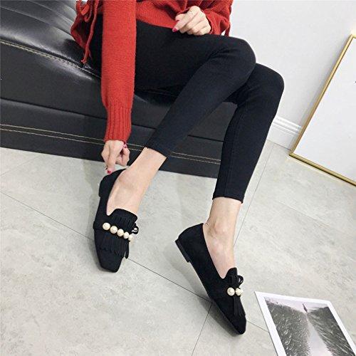 Hoxekle Femmes Mode Gland Suede Talons Bas Carrés Orteils Semelle En Caoutchouc Slip On Mocassins Chaussures Noir