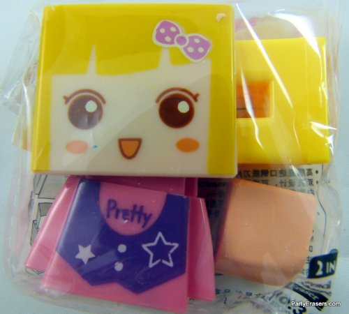 A Pair of DIY Boy and girl Shape 2 hole bladed Sharpener with Rubber (1 Pair - 2 Sets - Random design!) PartyErasers