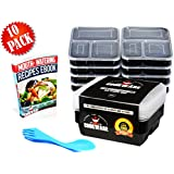 3 Compartment Meal Prep Containers [10 Set] With Clear Lids Durable Food Portion Control - BPA Free, Microwave, Dishwasher & Freezer Safe Stackable Reusable Lunch Bento Boxes Lifetime Guarantee 36 Oz