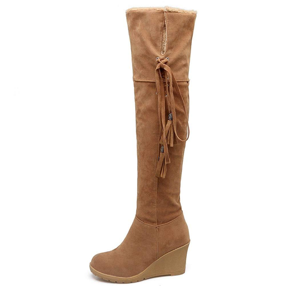DoraTasia Women s Snow Boots Warm Fur Buckle Lace-up Wedges Heel Faux Sheepskin Mid Calf Winter Boots