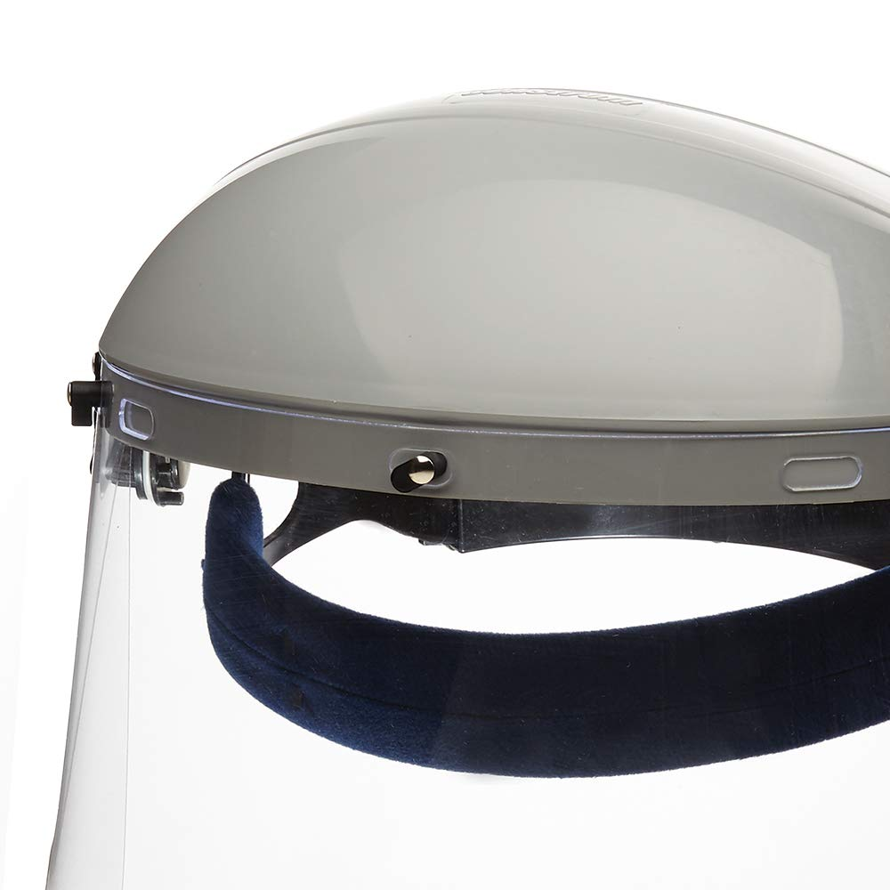 Sellstrom S30120 Advantage Series All-Purpose Face Shield, Clear Polycarbonate Shield, Ratchet Headgear with Blue Comfort Temple Band, (Before Use - Remove Protective Film from Both Sides of Shield) by Sellstrom