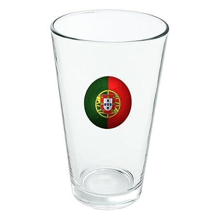 Bandera de Portugal balón de fútbol novedad 16 oz pinta vidrio ...