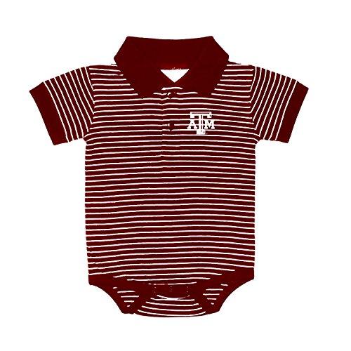 Texas A&M Aggies NCAA College Newborn Infant Baby Striped Golf Creeper (12 Months)