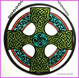 Decorative Hand Painted Stained Glass Window Sun Catcher/Roundel in a Celtic Cross Design.