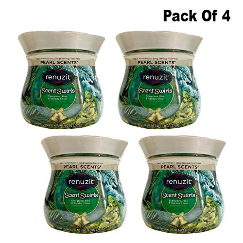 Renuzit Scents Swirls Odor Neutralizer, Evergreen, Pine & Holiday Cheer Air Freshener (Pack Of 4)
