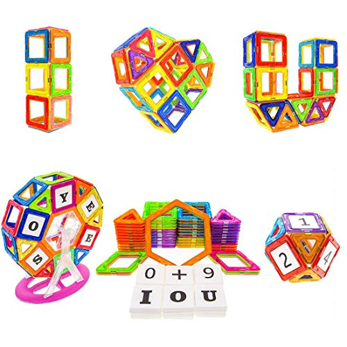 Soyee Magnetic Blocks STEM Educational Toys for 3,4 and 5+ Year Old Boys and Girls Creative Construction Fun Magnetic Tiles Kit Gifts for Kids - 100pcs Super Refill Kit -
