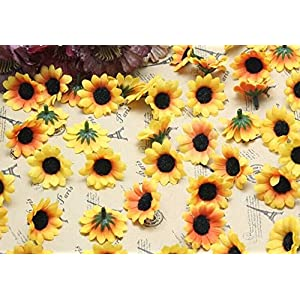 ELEOPTION 100PCS Beautiful Artificial Flowers Yellow Sunflowers Sun Flower Heads For Embellishing Weddings, Parties, Hair Clips, Headbands, Hats, Clothes, Bows, Craft work 5