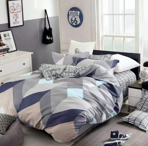 Eikei Home Minimal Style Geometric Shapes Duvet Quilt Cover Modern Scandinavian Design Bedding Set 100-percent Cotton Soft Casual Reversible Block Print Triangle Pattern (King, Mauve - Chevron Duvet King Set Cover
