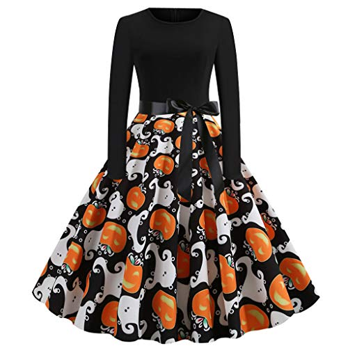 KLFGJ Halloween Dresses Womens Cocktail Swing Dress Long Sleeve Dresses Skeleton Pumpkin Printed Cosplay Party Costume