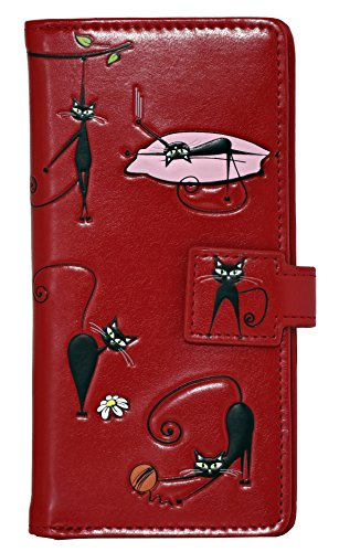 Shagwear Crazy Cats Large Zipper Wallet, Red from Shagwear