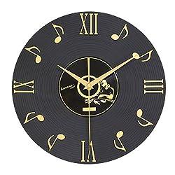 JustNile Modern Creative Round Wall Clock - 12 inch Music Vinyl Records