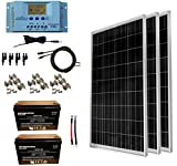 WindyNation 300 Watt (3pcs 100W) 12V Solar Panel Kit w/LCD P30L Charge Controller + Solar Cable + MC4 Connectors + Mounting Brackets + AGM 12 Volt Battery for RV, Boat, Cabin, Off-Grid