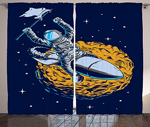 Outer Space Decor Curtains Cosmonaut Celebrates His Victory Top of a Rocket over Planet Mars Design Living Room Bedroom Window Drapes 2 Panel Set Yellow - Pattern Swag Victory