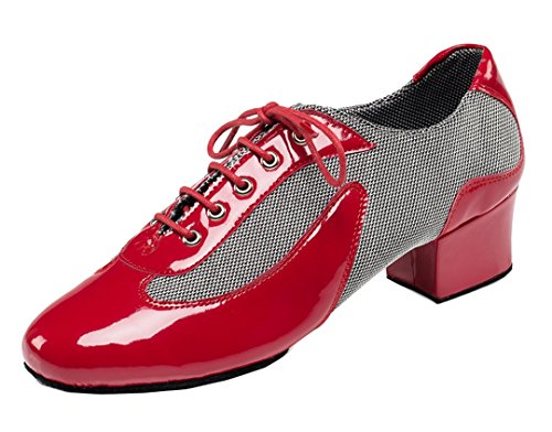 TDA Men's Vintage Classic Lace-up Round Toe Red Leather Salsa Tango Ballroom Latin Modern Dance Shoes 11 M US by TDA