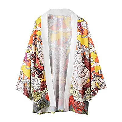 Xlala T Shirt for Men's Dragon Fish Cloud Print Pattern Personality Novelty Lovers Clothing Loose Casual Short Sleeve Vacation Kimono Top