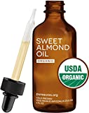 Sweet Almond Oil (Organic) - For Skin, Hair and Face - 4oz Glass Bottle + FREE Recipe eBook! - All Natural Sensual Massage Oil - Use with Essential Oils and Aromatherapy as a Carrier and Base oil