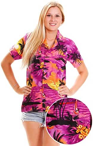 Funky Hawaiian Blouse Women Short-Sleeve Front-Pocket Surf Beach Multiple Colors