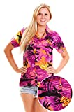 V.H.O. Funky Hawaiian Blouse Women Short-Sleeve Front-Pocket Surf Beach Multiple Colors