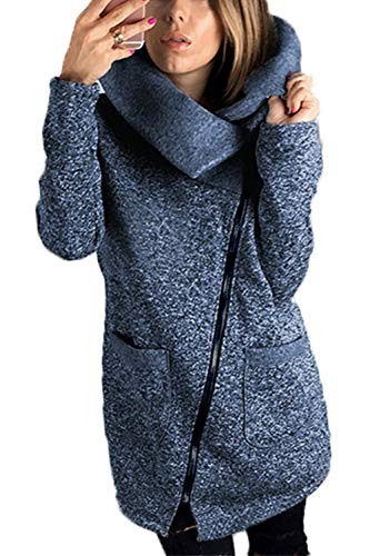Donna Manica Blu Lunga Obliqua Sweatershirt Giacca Cerniera Zinmuwa aqdB66S
