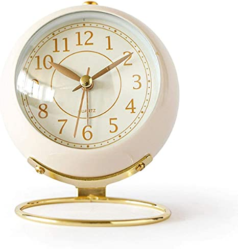 Justup Small Table Clocks Classic Non Ticking Tabletop Alarm Clock Battery Operated Desk Clock With Backlight Hd Glass For Bedroom Living Room Kitchen Indoor Decor White Home Kitchen