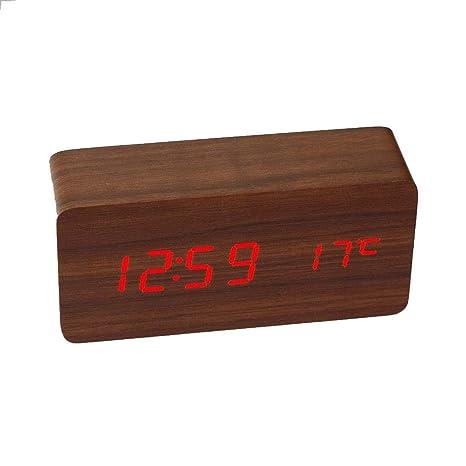 Bambú de Madera Alarma electrónica Inteligente Reloj Digital Sound Control de Tiempo la Temperatura del LED