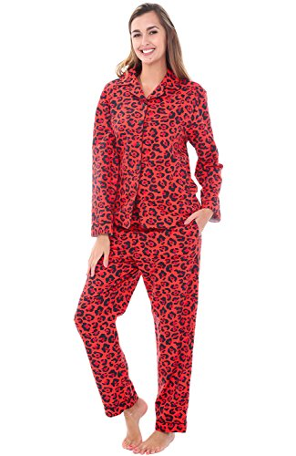 Alexander Del Rossa Womens Flannel Pajamas, Long Cotton PJ Set, Large Red Leopard Animal Print (Leopard Flannel Gifts)