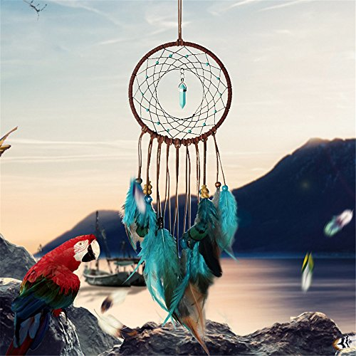 Dream Catcher ~ Handmade Traditional Feather Wall Hanging Home Decoration Decor Ornament Craft Green and Brown 51quot Diameter 196quot Long