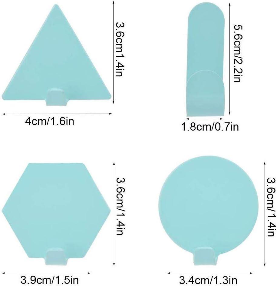 8 Piezas Ganchos de Pared Geom/étricos,Mini Ganchos Soporte de Pared de Cocina sin Perforaciones,Gancho de llavero,Decoraci/ón de Pared de Cocina Azul, Blanco