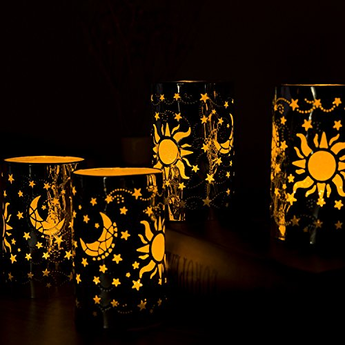 JURICH Realistic and Bright Flickering Flameless LED Tea Light Battery Candles with Silvery Sky Decorative Metal Holder for Seasonal & Festival Celebration,Pack of 2 (Silvery Sky) by JURICH