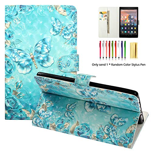 LittleMax Case for Amazon Fire HD 8 2018 Release - PU Leather Flip Folio Stand Case Auto Sleep/Wake Cover for Fire HD 8 8th Gen 2018 / 7th Gen 2017-09 Crystal Blue Butterfly