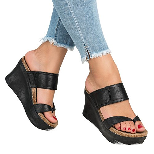 Ru Sweet Women's Sandals Peep Toe PU Side Cutout Belt Buckle Blocking Hook-Loop Strappy Wedges Sandals Summer Shoes