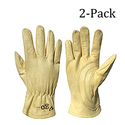 Vgo Glove Unlined Top Grain Goatskin Work and Driver Gloves with Palm Patch (2Pairs, Light Yellow, Size 9/L and 10/XL)