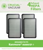 4 Kenmore 86889 EF-1 Exhaust HEPA Vacuum Filters, Compare to Sears Kenmore Part# 86889 (or 20-86889), 40324, EF1 & Panasonic Part # MC-V199H (MCV199H), Designed and Engineered by Crucial Vacuum