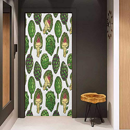 Door Sticker Artichoke Hand Drawn Healthy Foods in Various Forms Organic Natural Gourmet Artwork Print Glass Film for Home Office W36 x H79 Fern Green