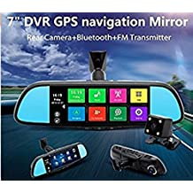 """A1 IMirror 7"""" Smart Android Rear View Mirror Quad Core with GPS Navigation,Dash Camera,WIFI,Back Up Camera,Bluetooth,1GB RAM 8GB ROM 32GB Card,Bracket #1 #3 #7 for Honda,Toyota,Ford,V.W.,Lexus,Mazda,and More"""